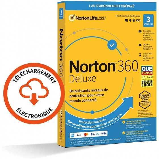 Norton 360 Deluxe 2021 | 3 Appareils | 1 An | PC/Mac/Android/iOS | Code d'activation - envoi par email