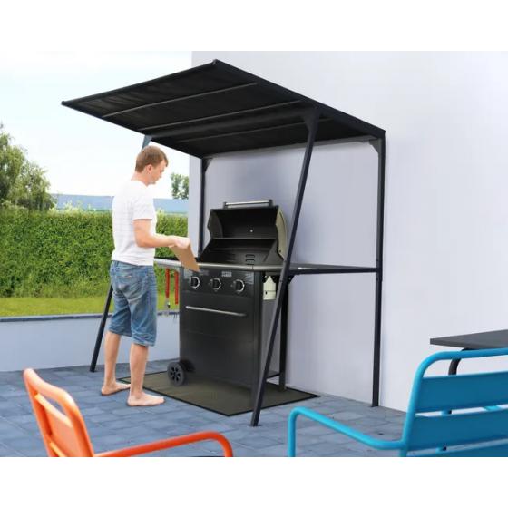 Tonnelle autoportante Barbecue, acier noire, 2.34 m²