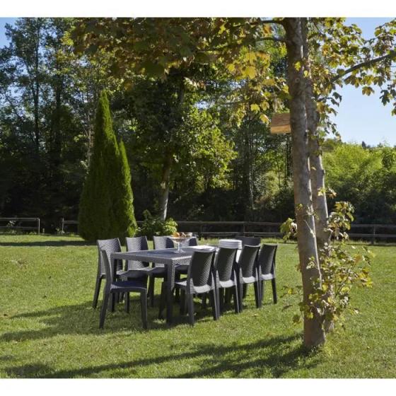 Table de jardin 8 à 10 personnes aspect résine tressée 220x90cm - Polypropylène Anthracite