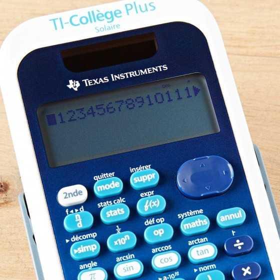 Calculatrice scientifique Texas Instruments - Collège - TI-Collège Plus Solaire