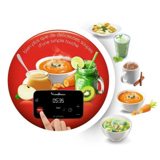 MOULINEX LM924500 Soup&Plus Blender Chauffant, Capacité utile 2 L, 5 vitesses, Ecran tactile, Livre recettes