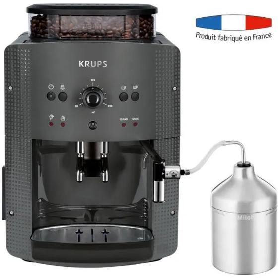 KRUPS YY4451FD Machine à café automatique avec broyeur à grains Essential avec mousseur à lait - Pression 15 bars - Grise