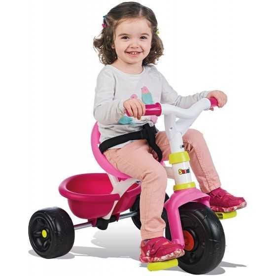 Smoby - Tricycle Be Fun Rose - Vélo Enfant Dès 15 Mois - Canne Parentale Amovible
