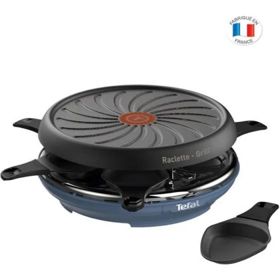 TEFAL RE12A401 - Colormania Raclette Electrique 2en1 - 6 Personnes - 850W - Revêtement Antiadhésif Easy Plus - Bleu acier